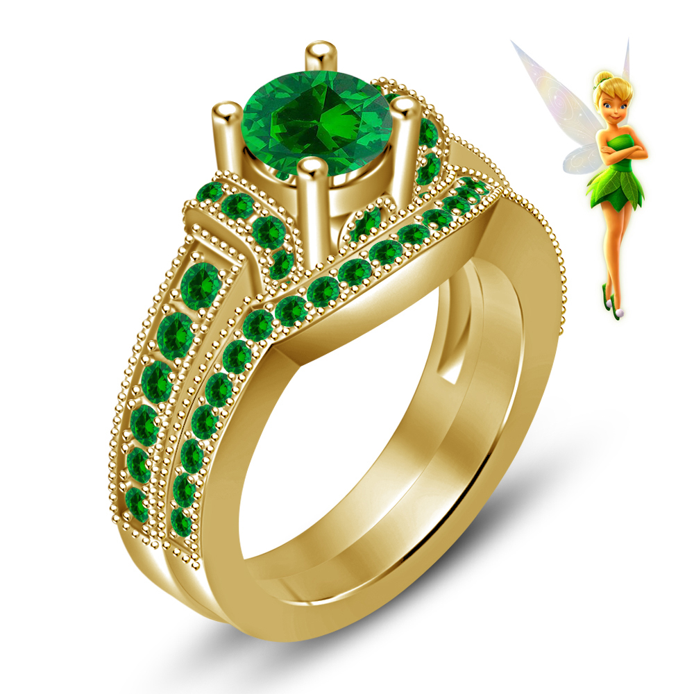 Green Sapphire 14k Yellow Gold Over 925 Silver Handmade Tinker Bell Disney Fairies Wedding Ring: Silver Bells Wedding Ring At Websimilar.org