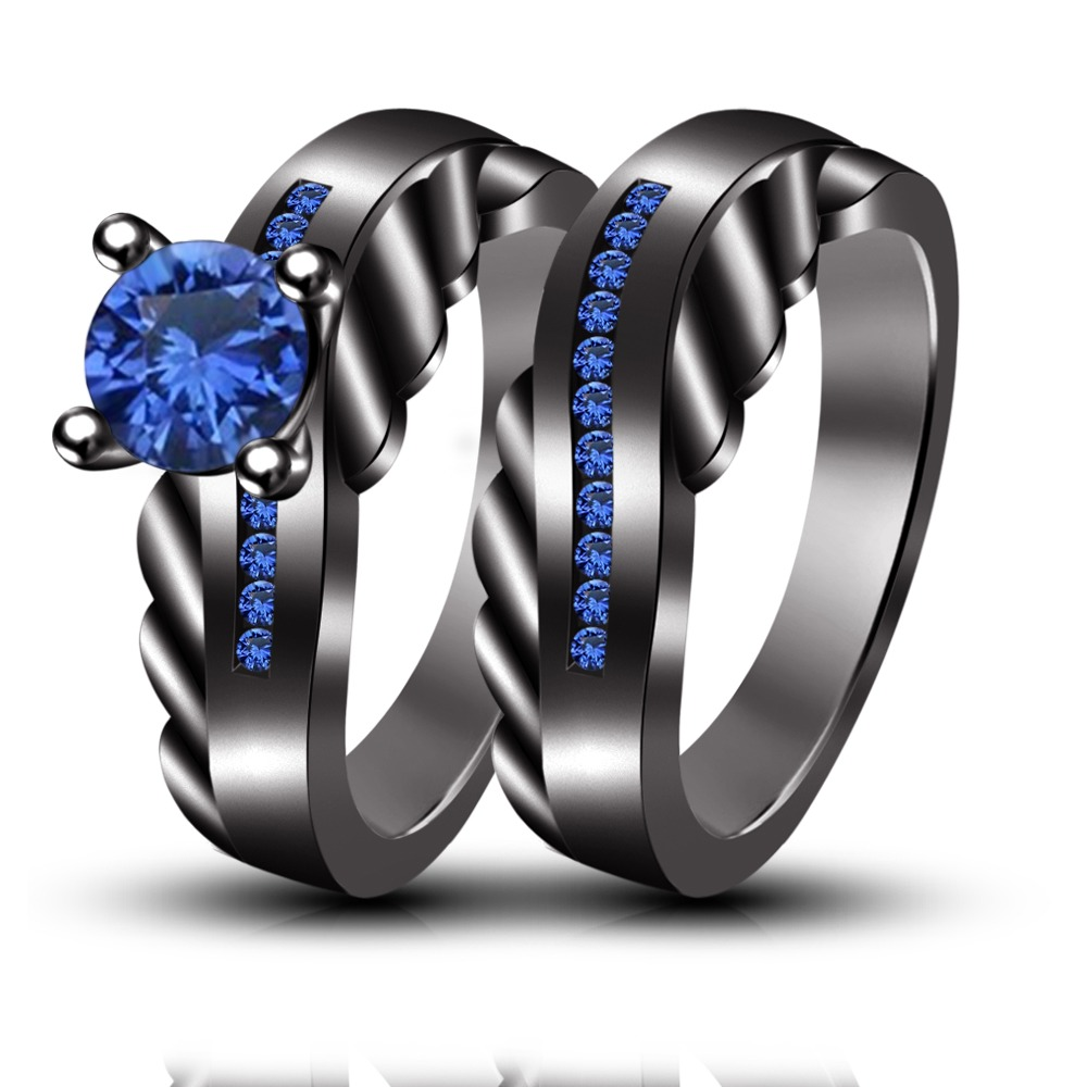 Wedding U0026 Engagement Rings Set  Blue Sapphire Handmade Black Rhodium Plated  925 Silver