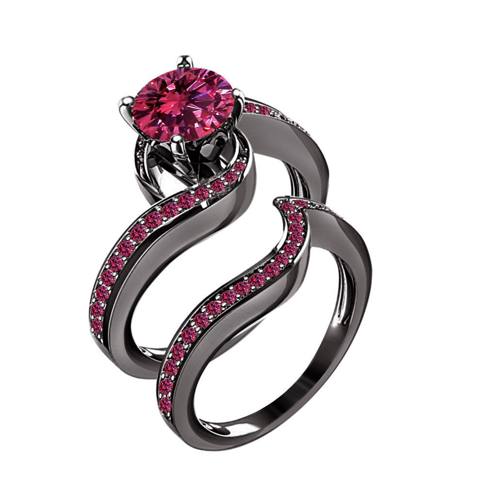 pink products v gold cz plating rhodium rings wedding website ring couple with three black