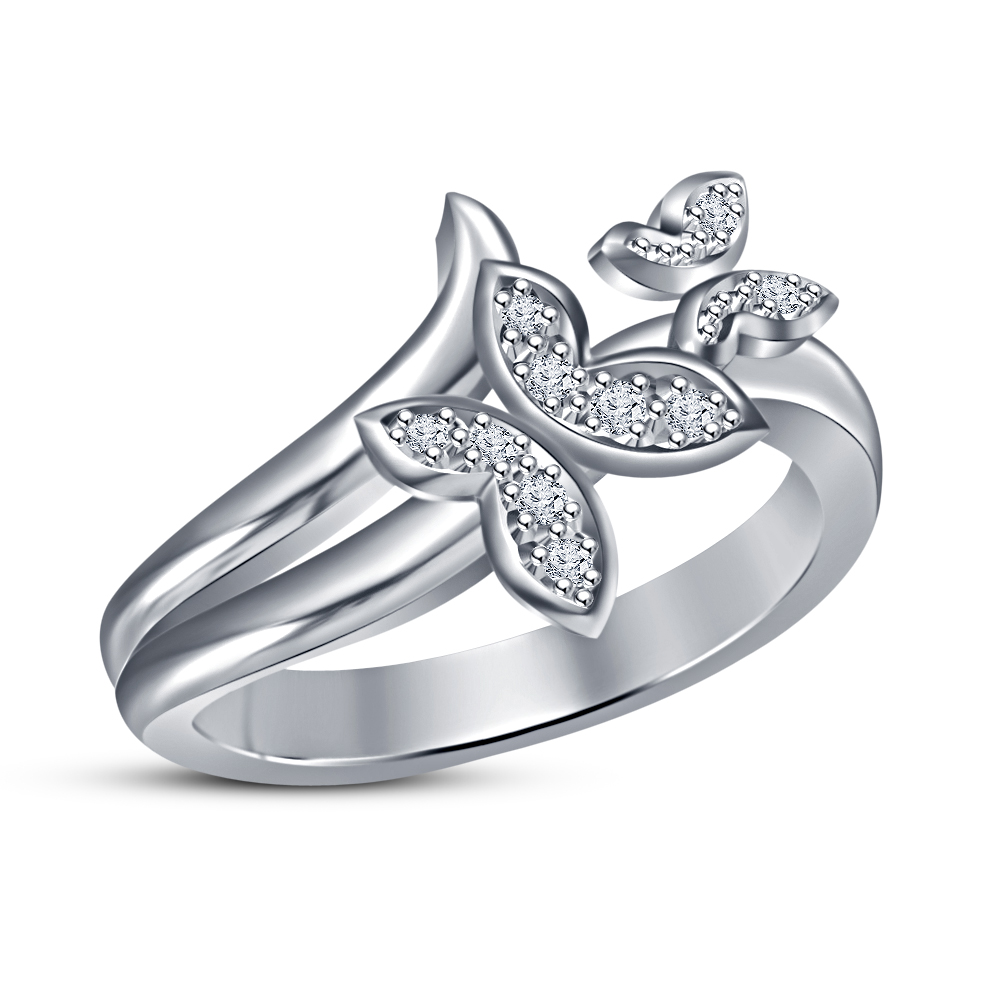 Fancy Double Cubic Zirconia Butterfly Ring In Platinum Plated 925 ...