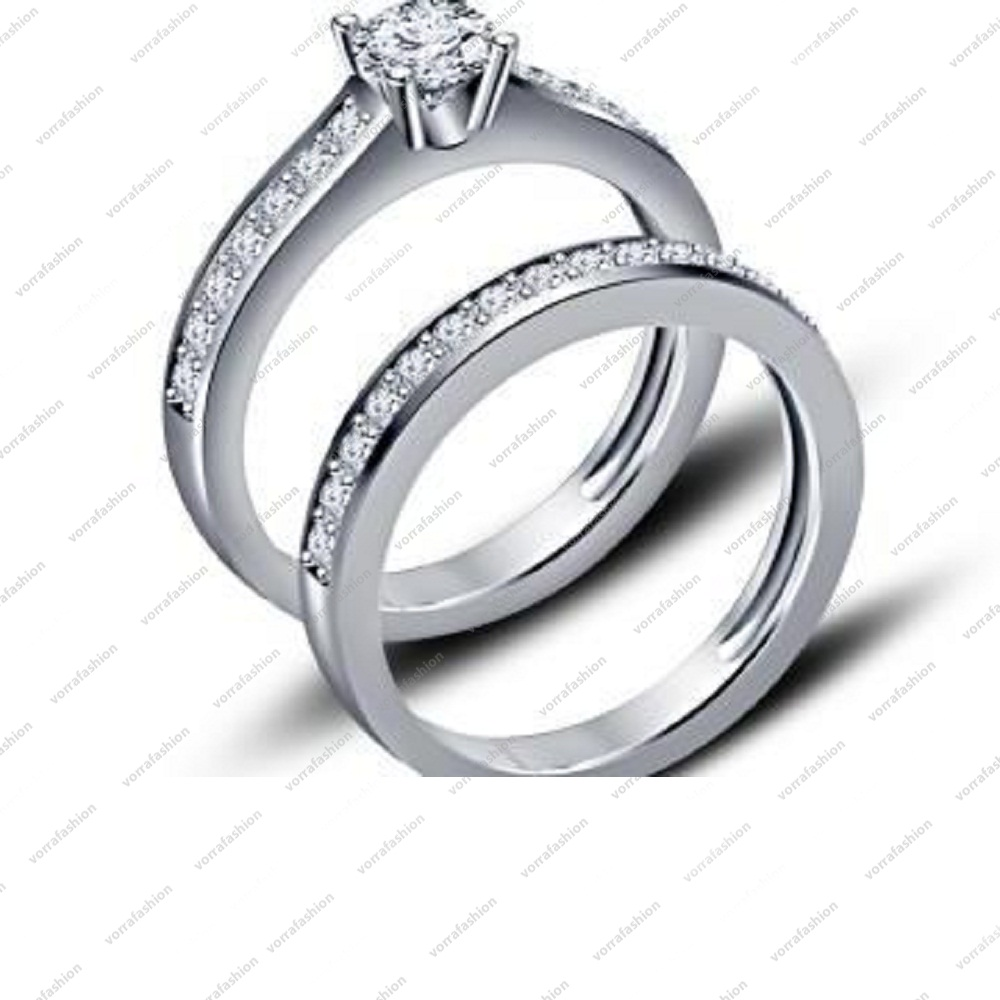 Simple Bridal Ring Set With Platinum Plated Round Cut Cubic Zirconia 925  Sterling Sliver Engagement /