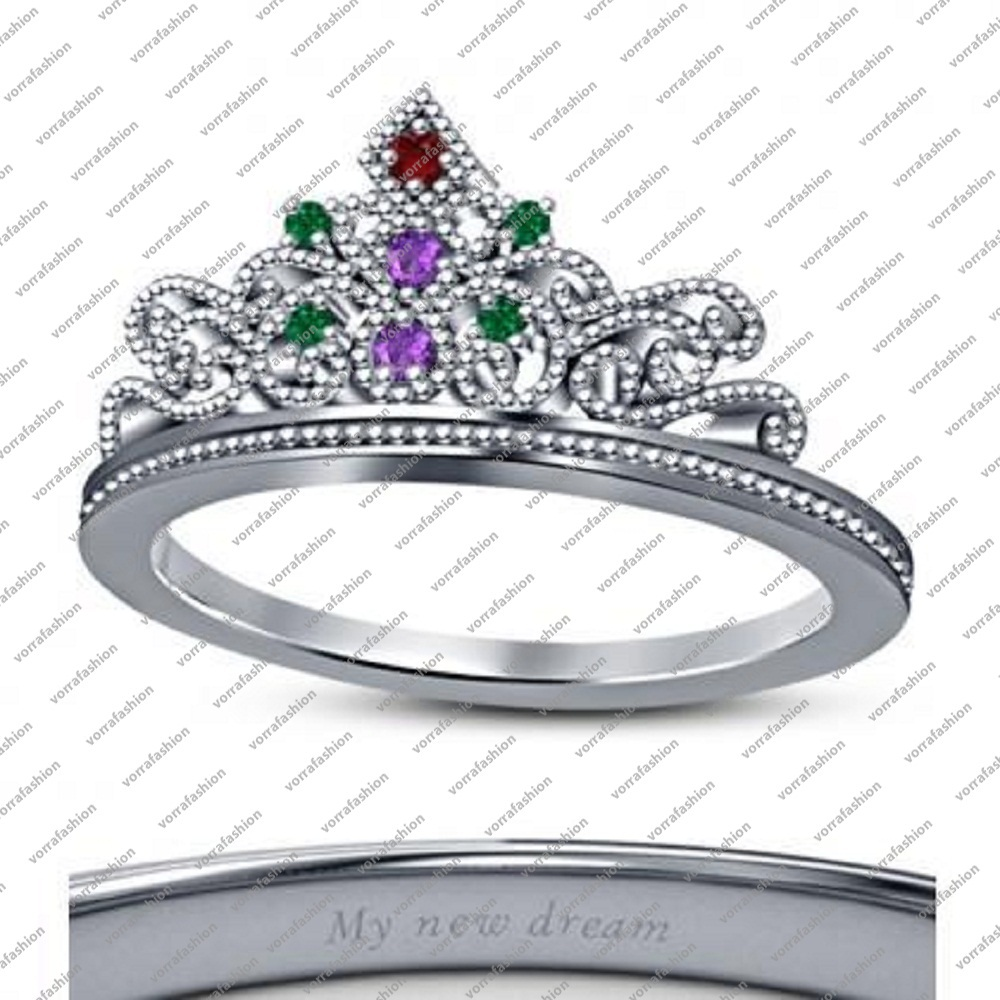 Round Multi Color Stone Disney Ariel Princess Crown Wedding Ring In 14k White Gold Finish