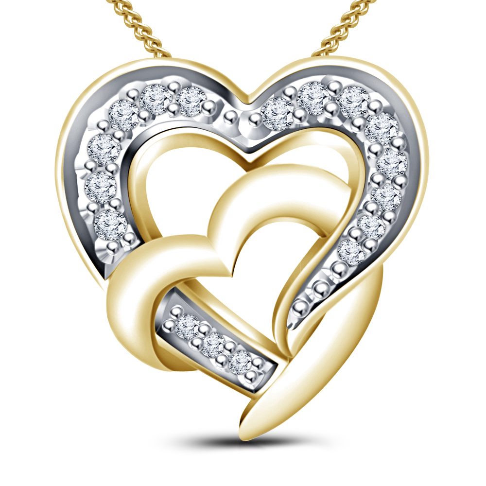 672be4d54d4bdb White Stone Cubic Zirconia 14K Gold Plated 925 Sterling Silver Heart Shape  Pendant & Round Cz Ring For Women's